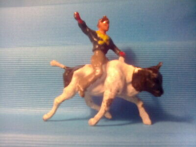 LEAD RODEO COWBOY RIDING A BULL TIMPO/BRITAINS?  C1950's . T3,cb3*U.K. ONLY • 4.99£