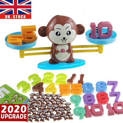 Kids Number Math Learning Puzzle Toys Monkey Balance Scale Fun Game Educational • 9.56£
