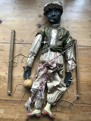Antique Early 20th Century Hand Carved Wooden Puppet Moor Juggler Marionette A/F • 50£