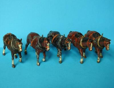 BRITAINS VINTAGE PRE WAR LEAD FARM SERIES #541 #648 #649 CART & FIELD HORSES X 5 • 0.99£