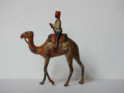 BRITAINS 1910 VERY RARE 2 Pc LEAD MOUNTED BIKANIR CAMEL CORPS SOLDIER WIRE TAIL • 31£