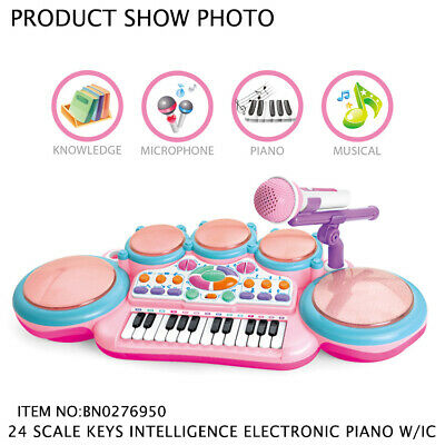 Kids Electronic Keyboard Organ Piano With Lights 24 Keys Drum Microphone X- Gift • 24.99£