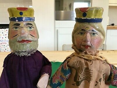 Vintage Antique Wooden Punch And Judy King & Queen Puppets,wooden Toy Doll  • 135£