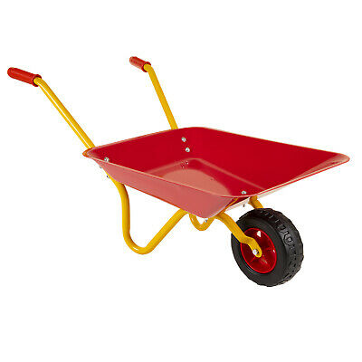 Childrens Kids Metal Toy Wheelbarrow Red Yellow Play Garden Gardening • 19.99£