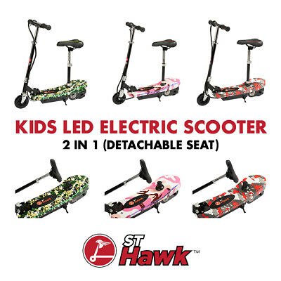 Kids Electric E Scooter Lights Up Glow Strip LED Ride On 120w Rechargeable 2in1 • 119.95£