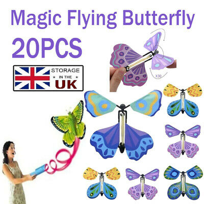 Magic Flying Wind Up Butterfly Toy For Christmas Greeting Card Wedding Prank Kid • 9.99£