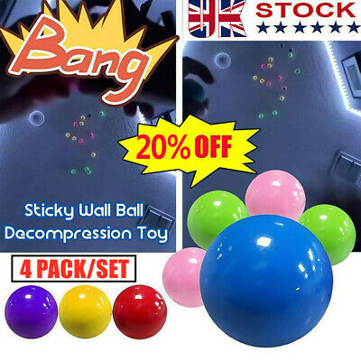 4 X Fluorescent Sticky Wall Ball Sticky Target Ball Decompression Toy Kid Gift • 5.59£