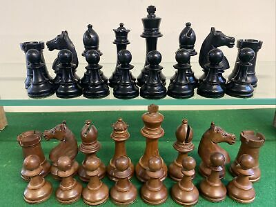 ANTIQUE CHESS SET 100 Mm KINGS Weighted With Glass Eyed Knights • 77£