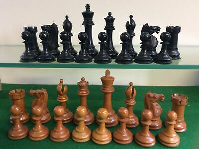 Antique Chess Set Weighted With 98 Mm Kings And Lovely Carved Knights • 51£