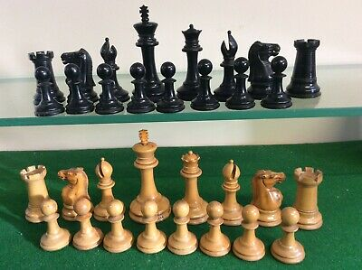 ANTIQUE CHESS SET JAQUES LONDON WEIGHTED 90 Mm KINGS • 205£