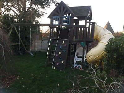 Large 2 Storey Wooden Playhouse Slide And Swings • 170£