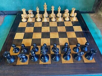 Large Antique Chess Set Poss German ? In  Box/ Board With Backgammon Interior • 27£
