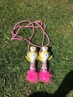 Girls Wooden Skipping Rope With Sequins And Pink Glitter And Fur • 6£