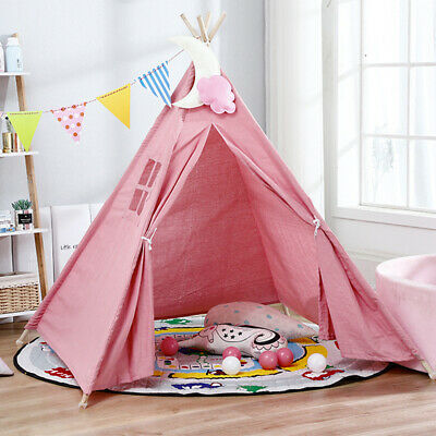 Cotton Canvas Kids Teepee Tent With LED Light Childrens Wigwam Indoor Play House • 20.98£
