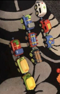 ELC HAPPYLAND Magnetic Trains And Emergency Services Cars Bundle • 10£