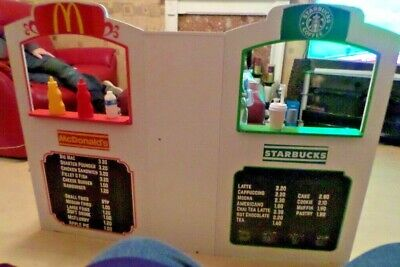 Customised 2 In 1 Shops Starbucks Coffee Shop & McDonalds Burger Bar Drive Thru  • 99.99£