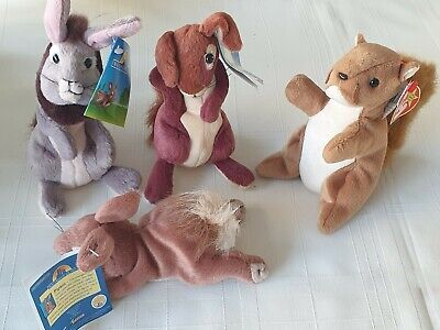Pre-owned Collection Of 3 Watership Down 6  Beanie Rabbits Plus 1 Ty Beanie Nuts • 1.49£