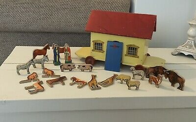 Vintage Chad Vally Pull Along Wooden Noahs Ark With Noah And Animals. • 25£