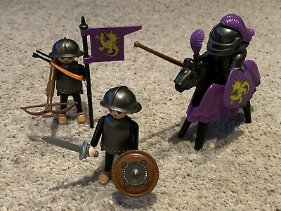 Vintage 1993 Playmobil 3669 Knights Dragon Knight Purple Complete • 8£