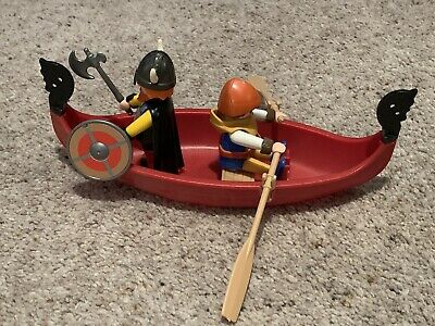 Playmobil Vikings Set (3156) With Figures, Shield, Weapons And Boat. • 8£