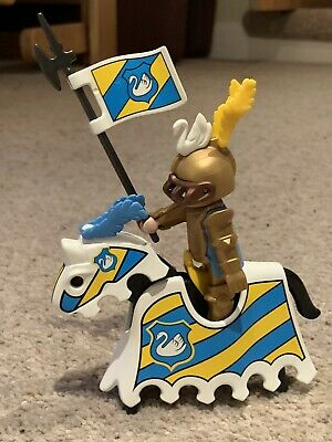 Playmobil Stocking Filler  White Swan Knight And Horse With Matching Accessories • 5£