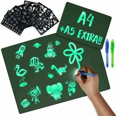 BONNYCO Light Drawing Board Kids A4 And A5, 6 Stencils 2 Spy Pens + A5  • 17.95£