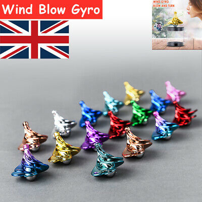 Blow Gyro Spinning Top Wind Blow Turn Airflow Gyro Decompression Daily Toy UK • 8£
