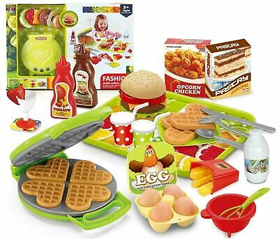 Burger Waffle Maker Toy Play Food & Cutlery Pretend Play Set • 14.99£