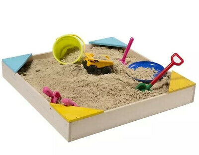 Timber Wooden Sandpit Comes With Sand Pit Cover & Weed Mat • 24.99£