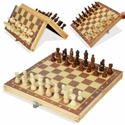 New Large Chess Wooden Set Folding Chessboard Pieces Wood Board UK • 10.66£