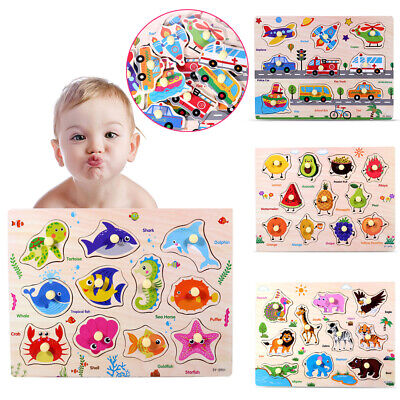 Baby Toddler Wooden Jigsaw Puzzle Alphabet/Number Educational Puzzle Toys Kids • 3.79£