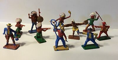 Crescent Toys Vintage Plastic NA Indian /Western Cowboy X 10 • 14£