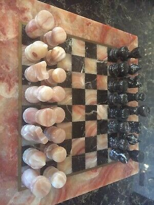 Marble Chess Set Complete With Board & Pieces • 75£