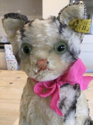 Antique Vintage Steiff Cat,Steiff Toy 8 Inch Susie Tabby Cat,1950s,button Tag. • 125£