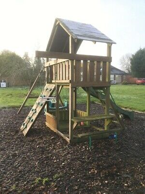 Climbing Frame With Balcony Fort, Swings And Slide • 103.21£