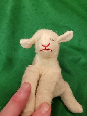 Rare 1960s Steiff Sleeping Lamb Approx 10 Inches In Length,  Stitched Snout, ... • 10£