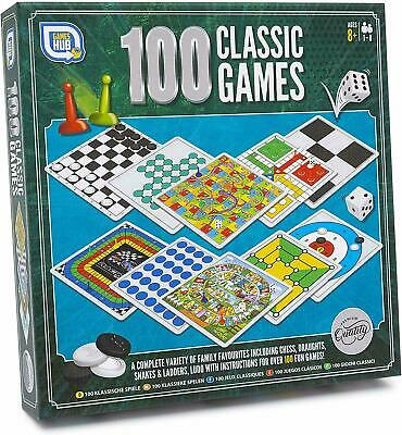 100 Classic Games Classic Family Board Games Compendium Draughts Chess Ludo • 7.75£