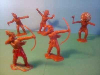 CRESCENT VINTAGE C1950's AMERICAN INDIAN TOY SOLDIERS X5  .LOT.18.02. *U.K.ONLY • 2.99£