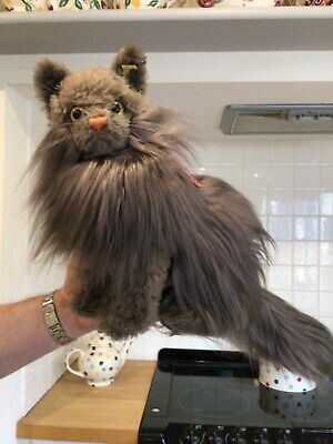 Antique Vintage Steiff Diva Cat,life Size Persian Toy Pussy Cat,button Tag Label • 125£