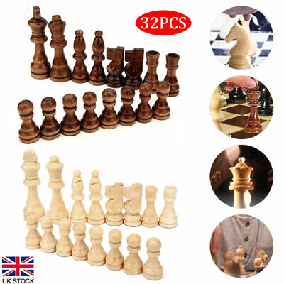 32 Pcs Wooden Carved Small Chess Pieces Hand Crafted King Chess Kit 65mm/91mm UK • 11.08£