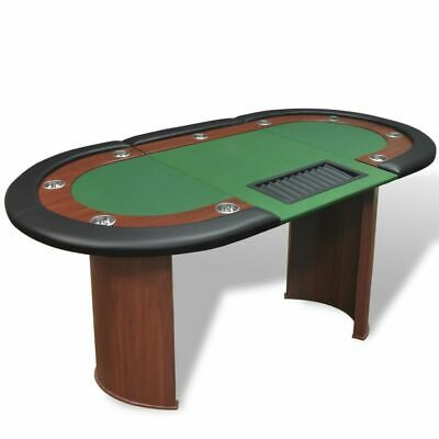 10 Player Casino Poker Table Leg Folding Top Dealer Area Chip Tray Cup Holder • 286.99£