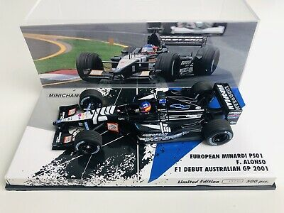 1/43 Minichamps Fernando Alonso Minardi PS01 Australian Grand Prix 2001 Debut 1 • 50£