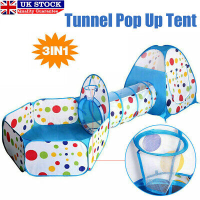 3 In 1 Kids Play Tent Castle Toddler Tunnel Balls Pit Pop Up Cubby Playhouse UK • 19.49£