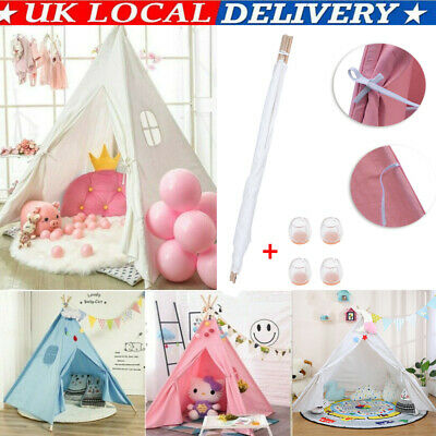 Large Canvas Kids Teepee Indian Tent Childrens Wigwam Indoor Outdoor Play House • 19.98£