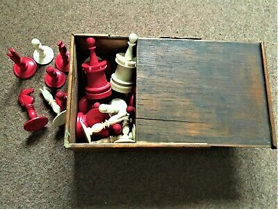 Vintage Chess Set In Wooden Box - Complete - Bone - • 40£