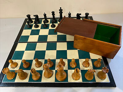 Early Antique Jaques Chess Set Weighted 90 Mm Kings  Leather Board & Box • 465£