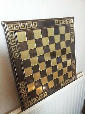 Vintage Large Classic Brass And Brown Greek Metal Chessboard - 44cm X 44cm  • 59.99£