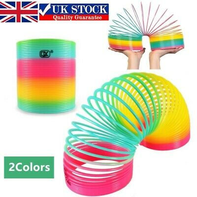 1PCS Large Rainbow Spring Coil Slinky Fun Kids Toy Magic Stretchy Bouncing Toys • 8.29£