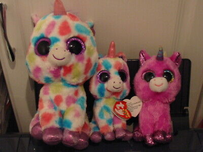 3 X Ty Beanie Boos Multi Unicorn Bundle -  Wishful  &  Rosette  • 5.30£