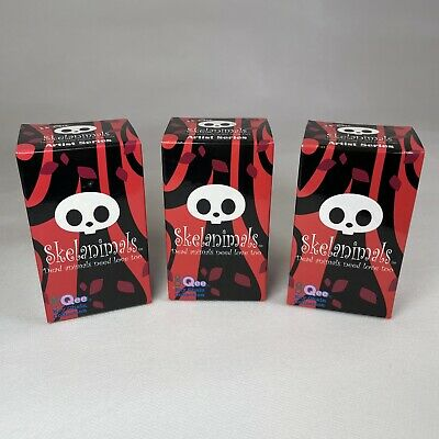 """Qee 2.5"""" Skelanimals Artist Series Key Ring Chain Collection Blind Box Set Of X3 • 24.99£"""